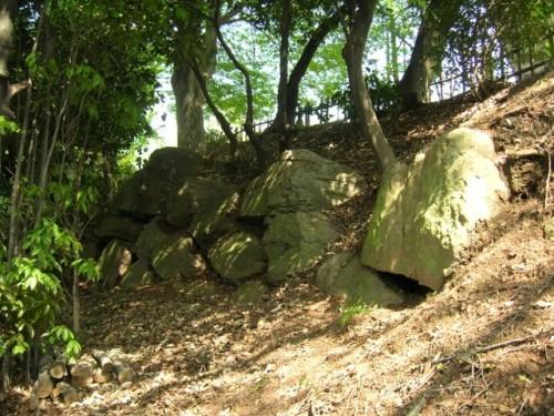 (写真4)主郭をとりかこむ穴太積みの石垣